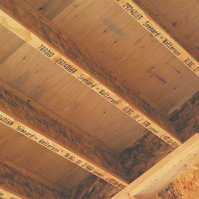 Installed I joists with inkjet labeling shown from below