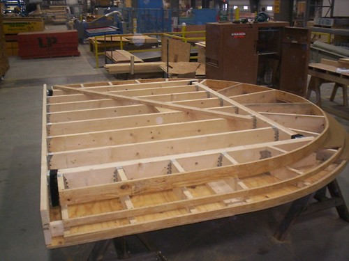 Portico being manufactured at Reliable Truss in New Bedford, MA