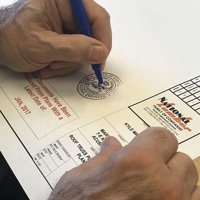 Registered Engineer Signs Stamped National Lumber Plans