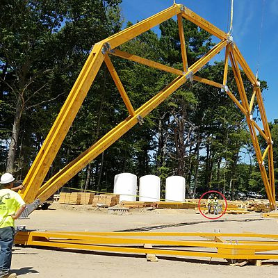 Custom roof truss designed and built by Reliable Truss