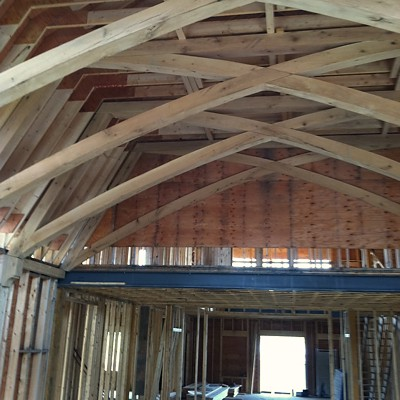Specialty Oak Trusses Installed on Jobsite