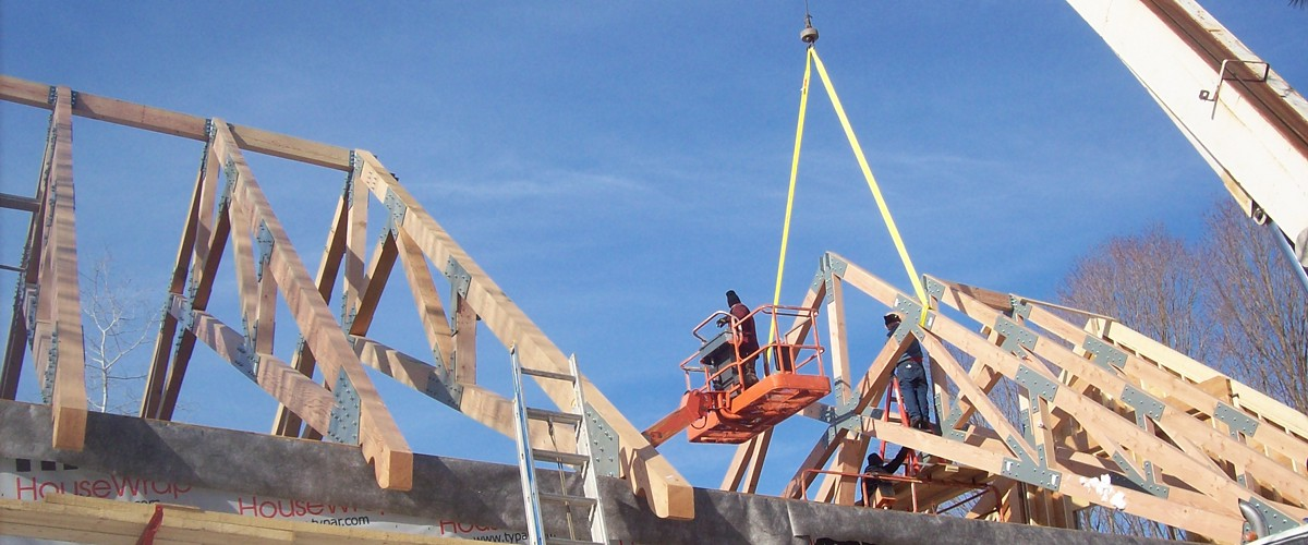 Timber Trusses being installed by crane