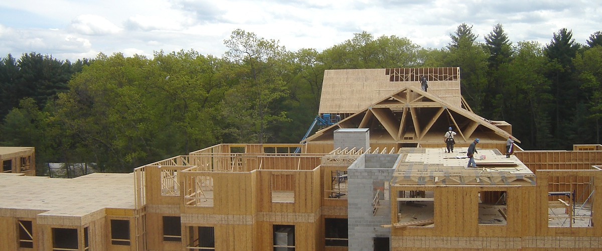Wood Framing at Newbridge on the Charles in Dedham, MA